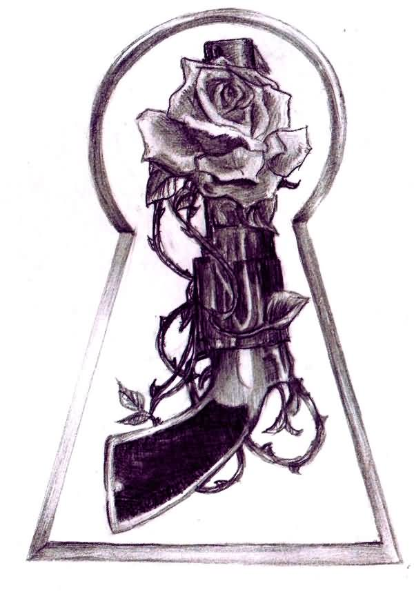 Rose Vine And Pistol Tattoo Drawing