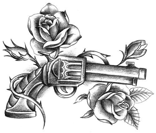 Rose Vine And Pistol Tattoos Sketch