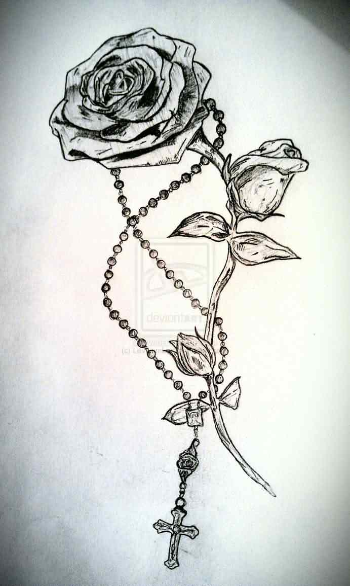 Rose Vine And Rosary Tattoo Design