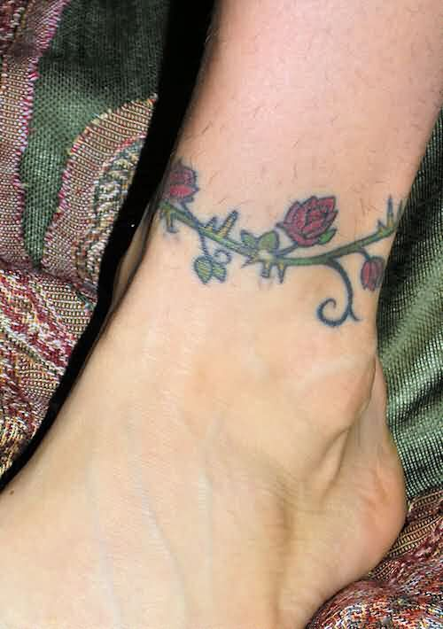 Rose Vine Ankle Band Tattoo