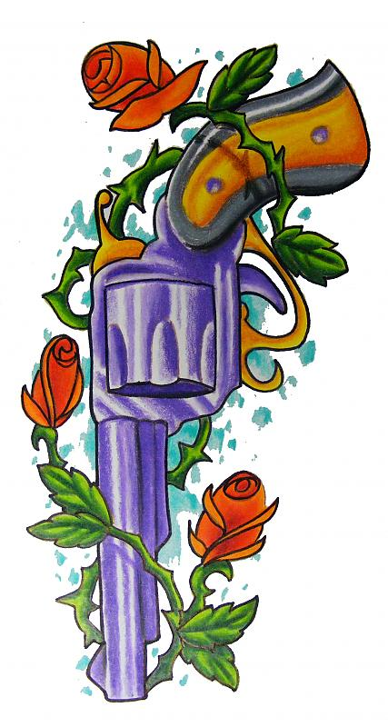 Rose Vine Around Purple Pistol Tattoo Design