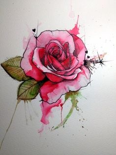Rose Watercolor Tattoo Design