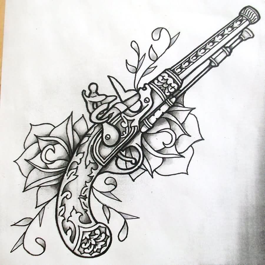 Roses And Flintlock Pistol Tattoos Sketch