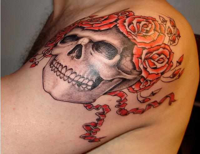 Roses And Skull Tattoos