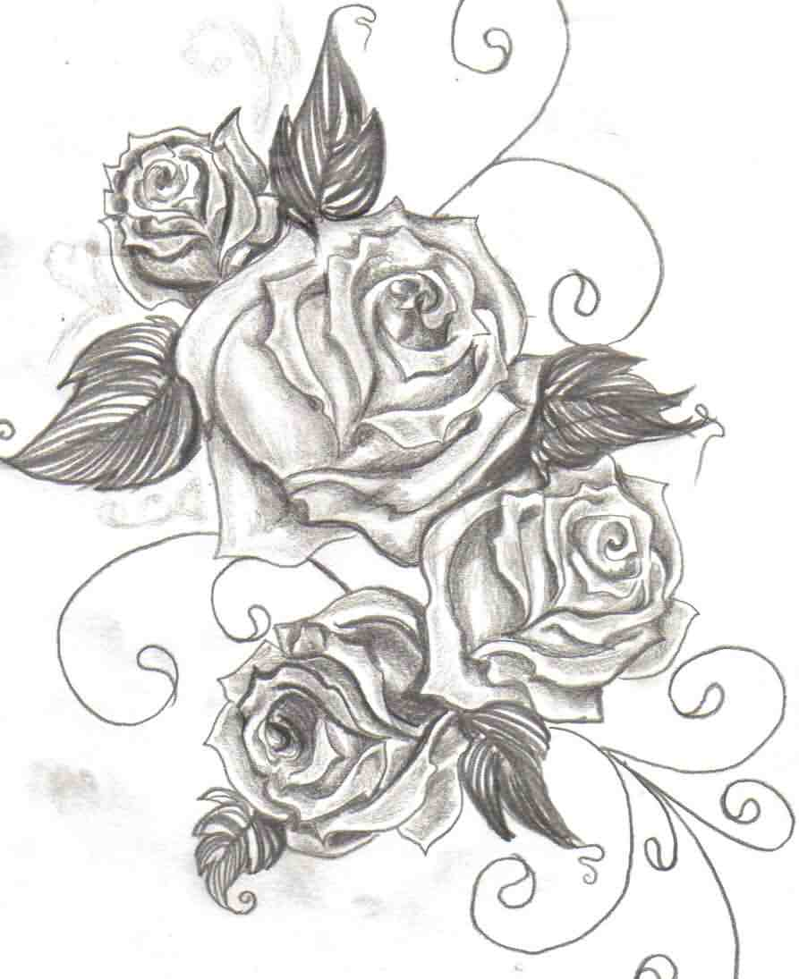 Roses And Swirls Tattoos
