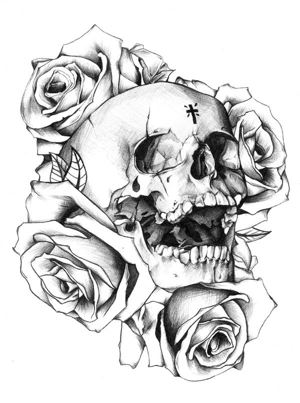 Roses Around A Skull Tattoo Design