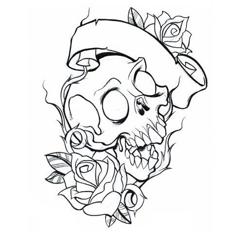 Roses Banner And Skull Outline Tattoos Sample
