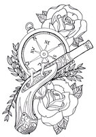 Roses Compass And Pistol Tattoo Sample