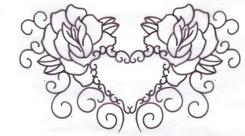 Roses Heart Tattoo Sample
