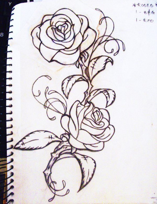 Roses Outline Tattoos