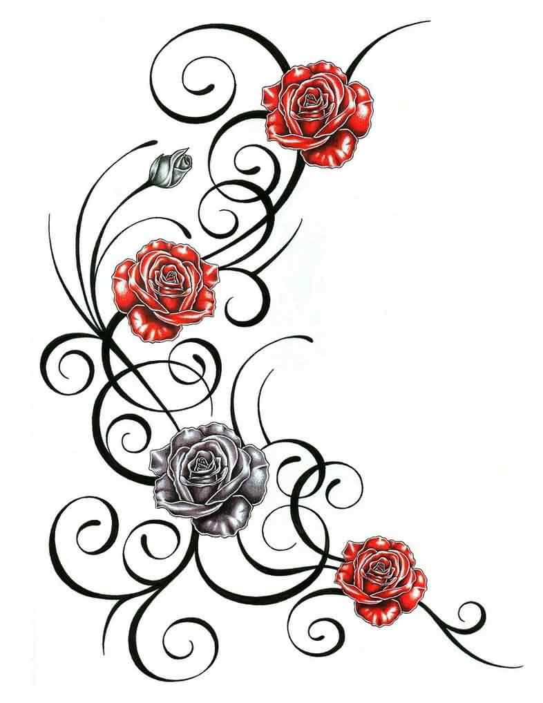 Roses With Tribal Tattoo Design