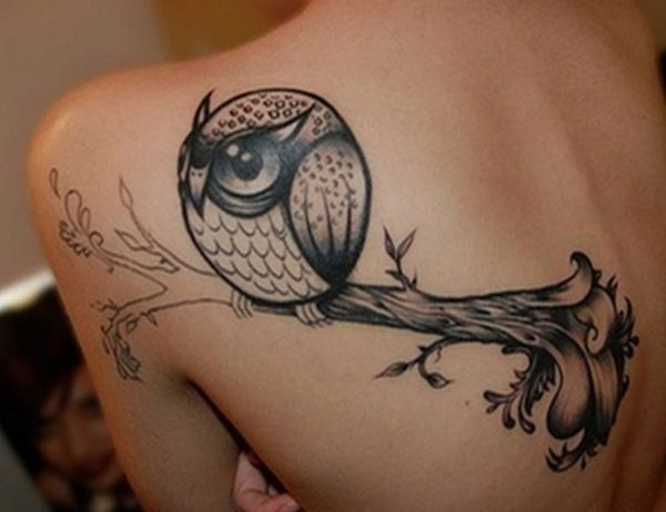 Round Shape Owl On Branch Tattoo