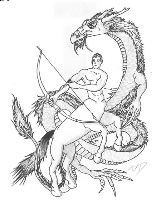 Sagittarius Archer And Dragon Tattoo Design