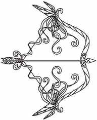Sagittarius Bow And Arrow Outline Tattoo Sample