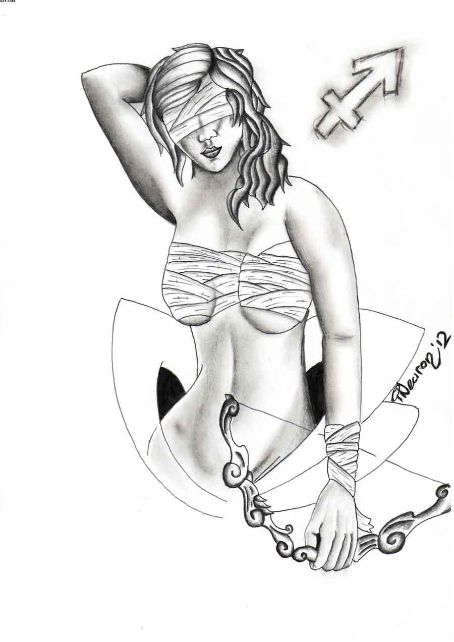 Sagittarius Female Tattoo Design