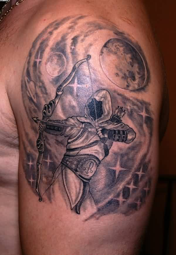 Sagittarius Healed Tattoo On Upper Arm