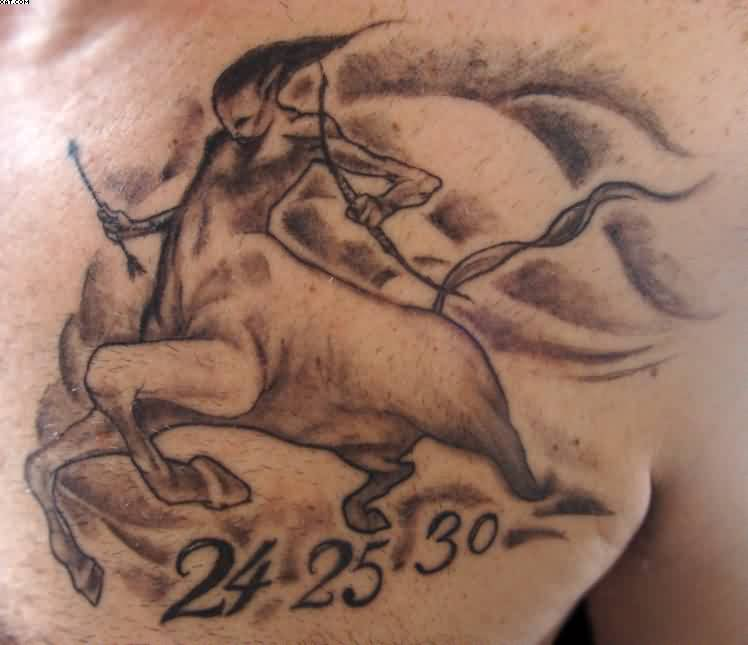 Sagittarius Memorable Tattoo On Chest