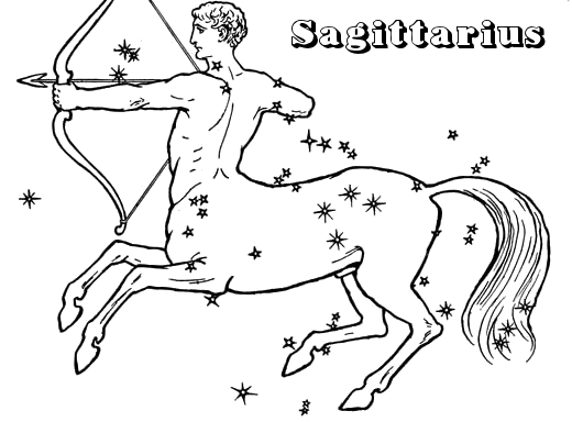 Sagittarius Outline Tattoo Flash