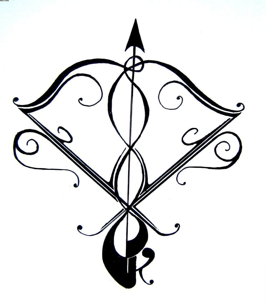 Sagittarius Sign Of The Zodiac Tattoo Stencil