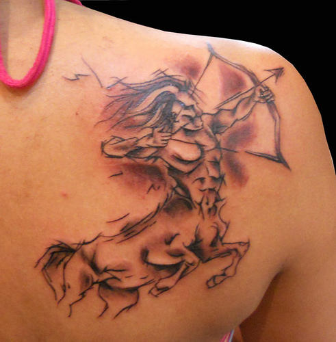 Sagittarius Tattoo Behind The Shoulder (2)