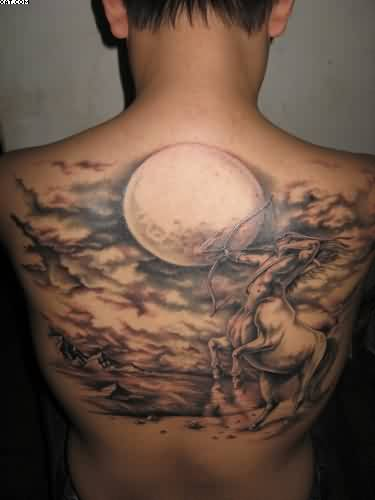 Sagittarius The Archer Tattoo On Back