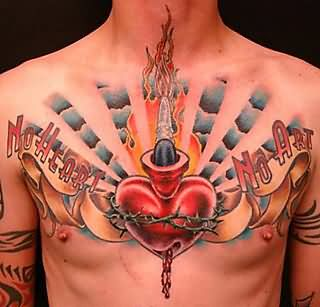 3D Blue Clouds And Sacred Heart Tattoos On Chest