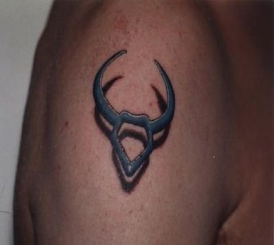 3D Blue Outline Taurus Symbol Tattoo For Men