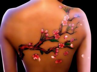 3D Cherry Blossoms Branch Tattoo On Dark Skinned Body