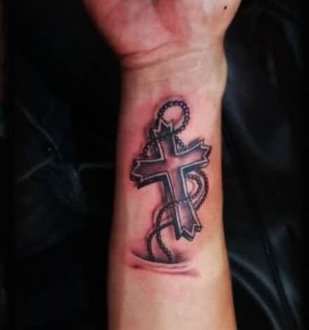 3D Cross With Rosary Beads Tattoos On Lower Arm