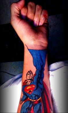 3D Flying Superhero Tattoo On Forearm