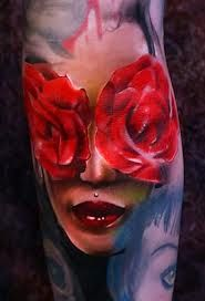 3D Girl Face With Red Rose Eyes Tattoo