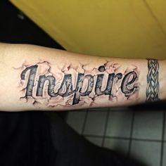 3D Inspire Word Tattoo On Forearm