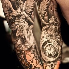 3D Religious Tattoos On Both Sleeves