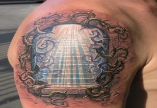 3D Stairs Tattoo On Shoulder
