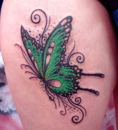 3D Swirls Butterfly Tattoo