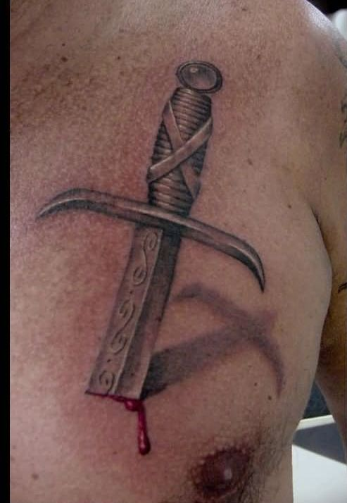 3D Sword Bleeding Tattoo Style For Men