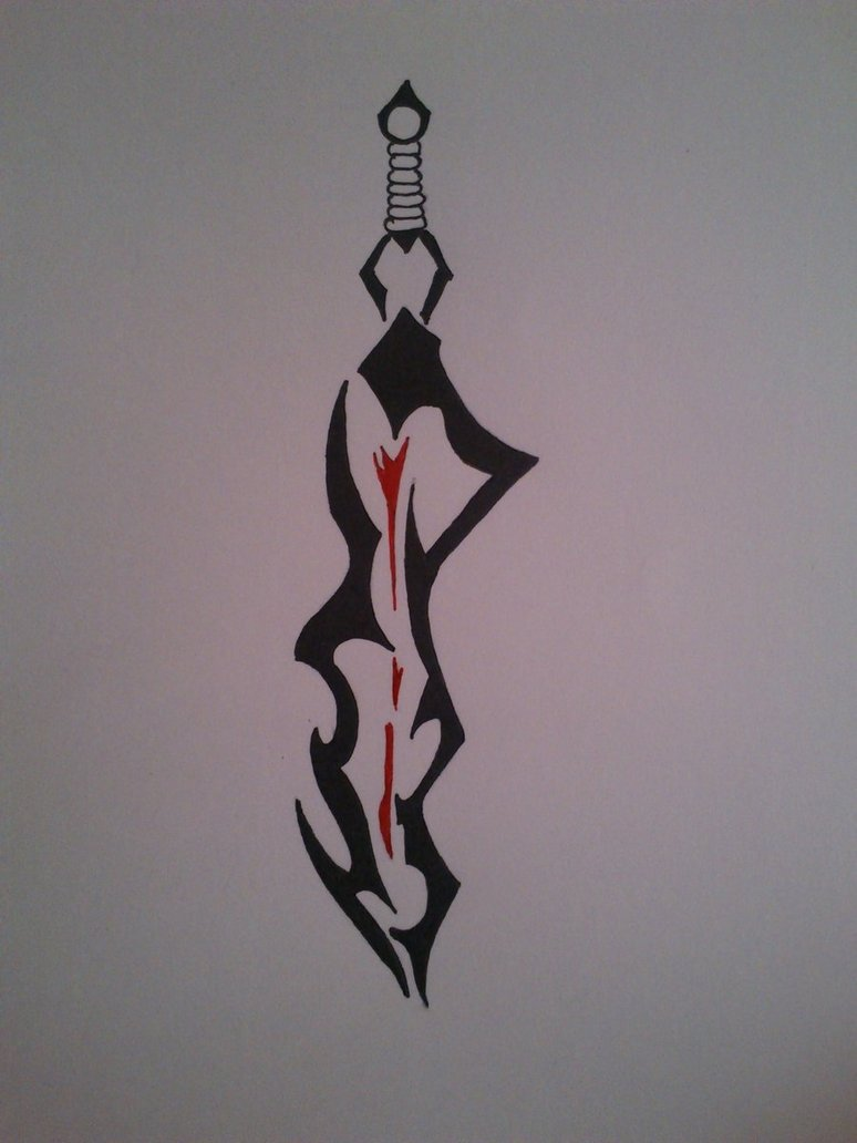 Again The Tribal Sword Tattoo Design