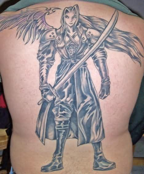 Angel With A Long Sword Tattoo On Back
