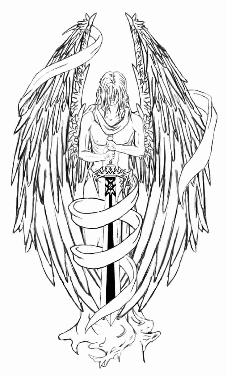 Angel With Long Black Sword Tattoo Sample