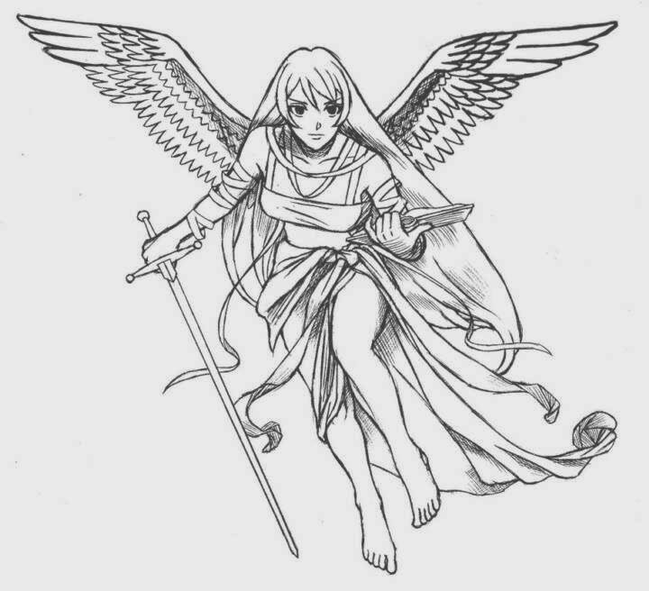 Angel With Long Sword Tattoo Design