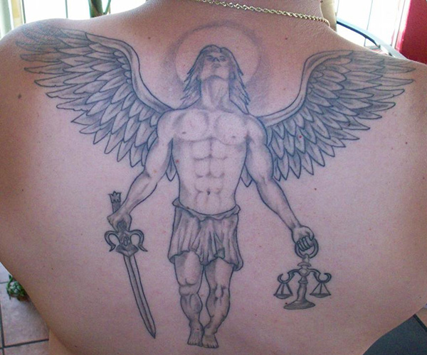 Angel With Sword And Justice Scale Tattoos On Back