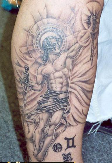 Angel With Sword And Zodiac Symbol Tattoos