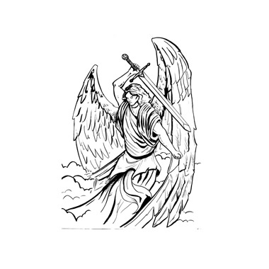 Angel With Sword Tattoo Design (2)