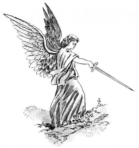 Angel With Sword Tattoo Design
