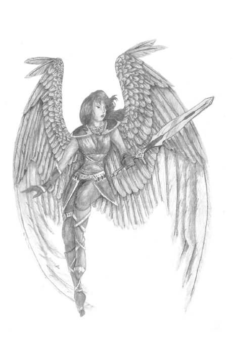 Angel With Sword Tattoo Sketch