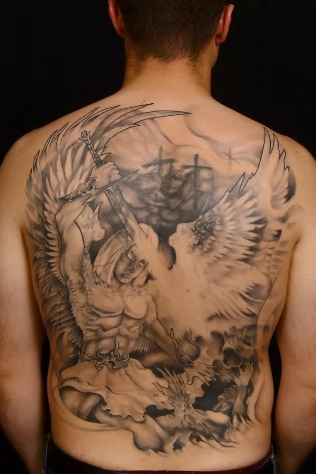Angel With Sword Tattoos On Entire Back