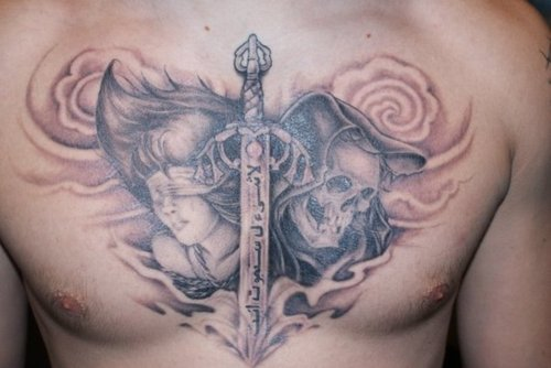 Arabic Words Sword And Skull Tattoos On Chest