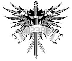 Banner And Long Sword Tattoo Design