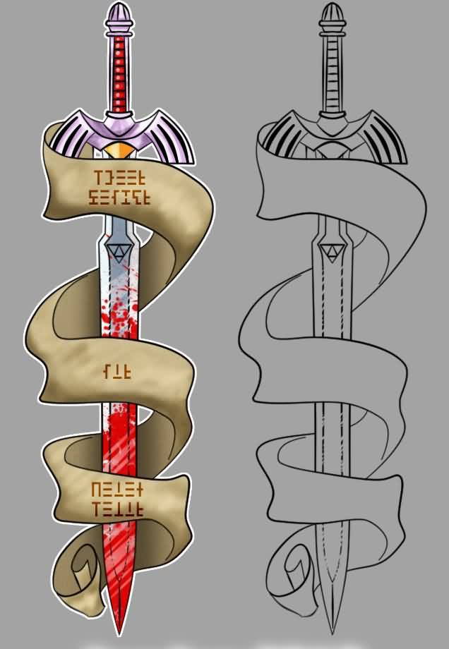 Banner And Sword Tattoos Designs