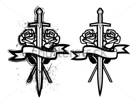 Banner Swords And Rose Tattoo Designs